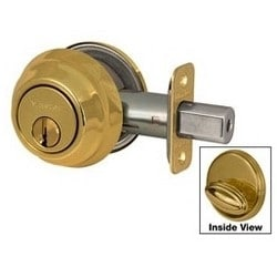 Door Deadbolt, WR5 Single Cylinder, Keyed Alike, Adjustable Latch, Polished Brass, 8 each per Box