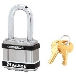 "Padlock, Magnum, Keyed Different, 4-Pin Cylinder, 1-3/4"" Width, 1-1/2"" Shackle Clearance, Laminated Steel, For Commercial"