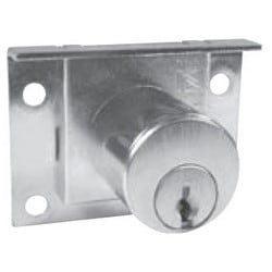 "Drawer Lock, Pin Tumbler, Half Mortise, 7/8"" Length Cylinder, 1/4"" Spring Bolt Travel, Dull Chrome, With (2) KD Key"