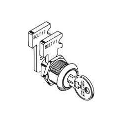 "Drawer Lock, Single Bitted, Keyed Alike 217 Keying, 19/32"" Diamond Back, Stainless Steel, With Universal Keyway, For Wood Drawer"