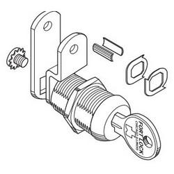 "Cam Lock, Single Bitted, Multi-Function, Keyed Alike 217 Keying, 7/16"", Stainless Steel, With Universal Keyway"