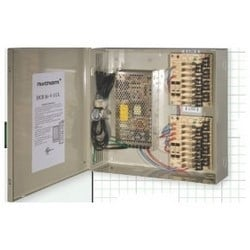 Power Supply, Multi-Channel, 16-Output, 115 Volt AC at 50/60 Hertz Input, 12 Volt DC Output, 12 Ampere, Glass Fused Protection, Metal Cabinet, Beige, With Key Lock/LED Indicator
