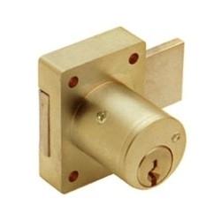 "Cabinet Deadbolt Door Lock, Schlage C Keyway, Rekeyable, Keyed Different, 5-Pin Standard, 1-1/8"" Diameter x 1-1/8"" Length Barrel, Polished Brass"