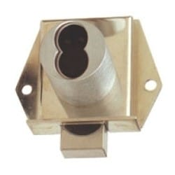 """Deadbolt Drawer Lock, Mortise, Inverted Hand, 1-1/8"""" Diameter x 1-1/16"""" Length Barrel, Satin Chrome Plated, For Small Format IC Core"""