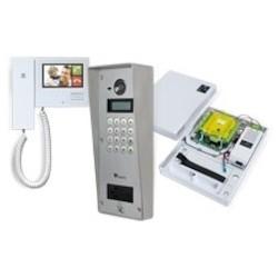 Door Entry System Single Door Kit, NET2 ENTRY, Surface Mount, 125 Kilohertz, 2-Way Hands-Free/Handset Audio, Includes Monitor, Control Unit, VR Panel, Rain Hood