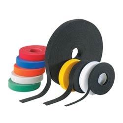 """Hook and Loop Cable Tie, Roll, 15' Length x 0.75"""" Width x 0.1"""" Thk, 50 Lb Tensile Strength, Nylon Loop, Polyethylene Hook, Black"""
