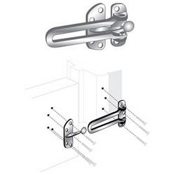 """Door Guard, Swing Bar, 2-1/2"""" x 4"""", Heavy Duty Steel, Brass, With Installation Hardware"""