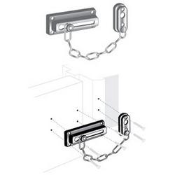 "Door Guard, 2-1/4"" x 4-1/4"" Fastener, 3-5/8"" Length Chain, Steel, Antique Brass, With Installation Hardware"