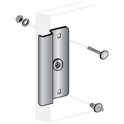 """Door Latch Protector, 6-1/2"""" Length x 3-1/2"""" Width, Steel, Aluminum, For Out-Opening Narrow Stile/Store Front Door"""