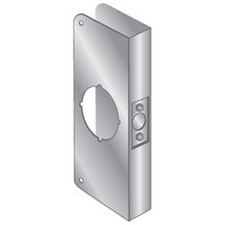 """Door Mount Wrap Plate, 12"""" Width x 5"""" Height, 1-3/4"""" Thickness Door, 2-1/8"""" Bore Diameter, 2-3/4"""" Backset, Stainless Steel"""