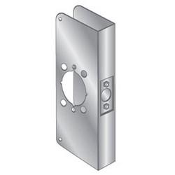 """Door Mount Wrap Plate, 12"""" Width x 4-3/4"""" Height, 1-3/4"""" Thickness Door, 2-1/8"""" Bore Diameter, 2-3/4"""" Backset, Stainless Steel"""