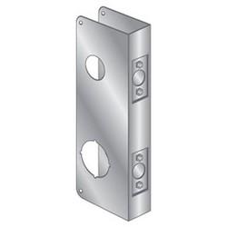 """Door Mount Wrap Plate, 9"""" Width x 4"""" Height, 1-3/8"""" Thickness Door, 4"""" Hole Distance, 1-1/2"""" Top x 2-1/8"""" Bottom Bore Diameter, 2-3/8"""" Backset, Stainless Steel"""