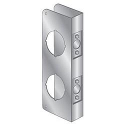 """Door Mount Wrap Plate, 9"""" Width x 4-1/4"""" Height, 1-3/4"""" Thickness Door, 3-5/8"""" Hole Distance, 2-1/8"""" Top/Bottom Bore Diameter, 2-3/4"""" Backset, Stainless Steel"""
