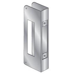 """Door Mount Wrap Plate, 12"""" Width x 5"""" Height, 1-3/4"""" Thickness Door, 1-1/2"""" Hole Diameter, 2-3/4"""" Backset, Stainless Steel"""