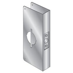 "Door Mount Wrap Plate Edge Guard, 5-1/2"" Width x 4-3/4"" Height, 1-3/4"" Thickness Door, Stainless Steel, For Medeco and Mark Key-In Lever Wood/Metal Door"