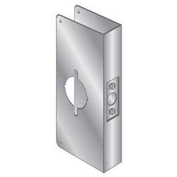 """Door Mount Wrap Plate Edge Guard, 5-1/2"""" Width x 4-3/4"""" Height, 1-3/4"""" Thickness Door, Stainless Steel, For Sargent 6500 Series 5.5"""" Lock"""