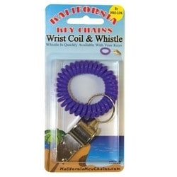"""Wrist Coil and Whistle Key Chain, 2-1/2"""" Diameter to 15"""" Stretch Coil, Soft Rubber Coil, Metal Whistle, 1 per Card"""