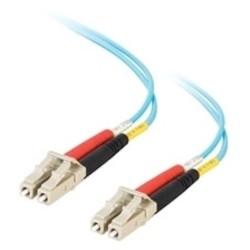 Fiber Optic Jumper Cable, Duplex, LC/LC, 10 GB 50 Micrometer Fiber, 10 Meter Length, PVC, Aqua