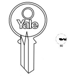 "Lock Key Blank, 7-Pin, Standard Bow, Single Section, SC Keyway, 0.51"" Pin Tumbler, Nickel Silver"