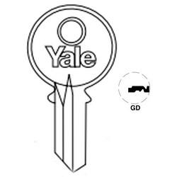 "Lock Key Blank, 6-Pin, Standard Bow, Single Section, GD Keyway, 0.51"" Pin Tumbler, Nickel Silver"