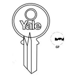 "Lock Key Blank, 6-Pin, Standard Bow, Single Section, GF Keyway, 0.51"" Pin Tumbler, Nickel Silver"