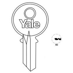 "Lock Key Blank, 6-Pin, Standard Bow, Single Section, SC Keyway, 0.51"" Pin Tumbler, Nickel Silver"