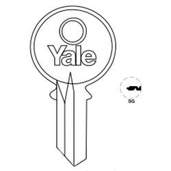 "Lock Key Blank, 6-Pin, Standard Bow, Single Section, SG Keyway, 0.51"" Pin Tumbler, Nickel Silver"