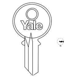 "Lock Key Blank, 6-Pin, Standard Bow, Single Section, TA Keyway, 0.51"" Pin Tumbler, Nickel Silver"