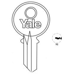 "Lock Key Blank, 6-Pin, Standard Bow, Single Section, TC Keyway, 0.51"" Pin Tumbler, Nickel Silver"