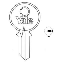 "Lock Key Blank, 6-Pin, Standard Bow, Single Section, TG Keyway, 0.51"" Pin Tumbler, Nickel Silver"