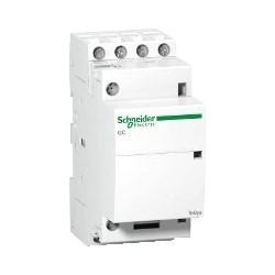 Modular Contactor, Clip-On, Screw Clamp Terminal, 4NO, 220 - 240V AC, 50 Hertz, 4-Pole, 25 Amp, 1.6 Watt, 36 MM Width x 62.5 MM Depth x 85 MM Height, White