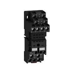 Electromechanical Relay Socket, Mixed Contact, Flat Pin, DIN-Rail Mount, Screw Clamp Terminal, 250 Volt, 10 Amp, 30 MM Width, For RxM 2/4 Relay