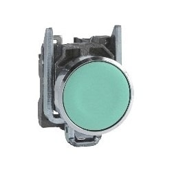 Pushbutton, Spring Return, Round, Flush, Unmarked, 1NO, 22 MM Diameter, 30 MM Width x 52 MM Depth x 47 MM Height, Chrome Plated Metal Bezel, Silver Alloy Contact, Green