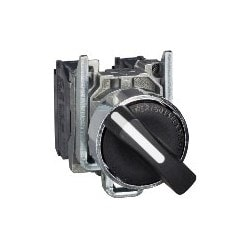 Selector Switch, 2-Position, 2NO, 600 Volt, 10 Ampere, 22 MM Mounting Diameter, 30 MM Width x 68 MM Depth x 47 MM Height, Chrome Plated Metal Bezel, Black