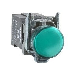Pilot Light, Round Head, 24V AC/DC, 50/60 Hertz, 18 MilliAmp, 22 MM Diameter, Chrome Plated Metal Bezel, Green, With Plain Lens