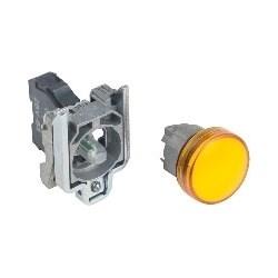 Pilot Light, Round Head, 24V AC/DC, 50/60 Hertz, 18 MilliAmp, 22 MM Diameter, Chrome Plated Metal Bezel, Orange, With Plain Lens