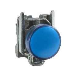 Pilot Light, Round Head, 24V AC/DC, 50/60 Hertz, 18 MilliAmp, 22 MM Diameter, Chrome Plated Metal Bezel, Blue, With Plain Lens