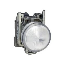 Pilot Light, Round Head, 110 - 120V AC, 50/60 Hertz, 14 MilliAmp, 22 MM Diameter, Chrome Plated Metal Bezel, White, With Plain Lens