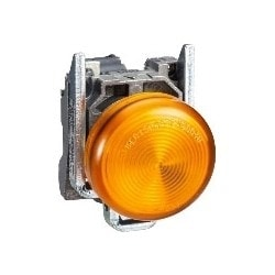 Pilot Light, Round Head, 110 - 120V AC, 50/60 Hertz, 14 MilliAmp, 22 MM Diameter, Chrome Plated Metal Bezel, Orange, With Plain Lens