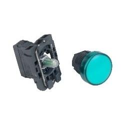 Pilot Light, Round Head, 24V AC/DC, 50/60 Hertz, 18 MilliAmp, 22 MM Diameter, Plastic Bezel, Green, With Plain Lens