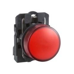 Pilot Light, Round Head, 24V AC/DC, 50/60 Hertz, 18 MilliAmp, 22 MM Diameter, Plastic Bezel, Red, With Plain Lens