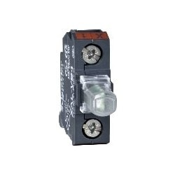 Contact Light Block, Steady, Rear Mount, Screw Clamp Terminal, Red LED, 24V AC/DC, For 22 MM Control and Signaling Unit