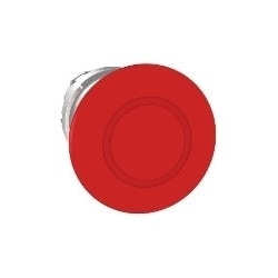 Pushbutton Head, Emergency Stop, Round, Trigger and Latching Push-Pull, 40 MM Width x 56 MM Depth x 40 MM Height, Chrome Plated Metal Bezel, Red, For 22 MM Pushbutton