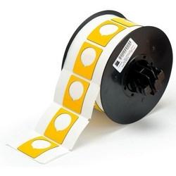 """Patch Panel Label, soulevées, plaque adhésive, gravé, assortie, Style bouton-poussoir, largeur 1,2"""" x 1,5"""" hauteur, 0,7 MM Thk, 0,885"""" diamètre du trou, Polyester, brillant jaune, rouleau de 200 par"""