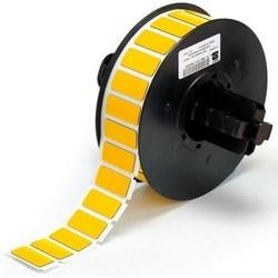"""Patch Panel Label, soulevées, plaque adhésive, gravé, Rectangle, 1,06"""" largeur x 0,49"""" hauteur, 0,7 MM Thk, Polyester, brillant jaune, 500 par rouleau"""