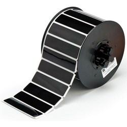 """Patch de l'étiquette en face, soulevées, plaque adhésive, gravé, Rectangle 3"""" largeur x 0,75"""" hauteur, 0,7 MM Thk, Polyester, brillant noir, 375 par rouleau"""