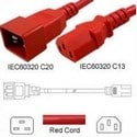 Power Cord, C13-C20, 1.0 MT Red 250V, 3 x 1.0mm conductors 10AMP