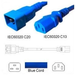 Power Cord, C13-C20, 2.0 MT Blue 250V, 3 x 1.0mm conductors 10AMP