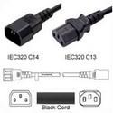 Power Cord, C13-C14, 0.3 MT Black 250V, 3 x 0.75mm conductors 10 AMP