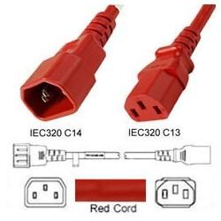 Power Cord, C13-C14, 0.3 MT Red 250V, 3 x 0.75mm conductors 10AMP